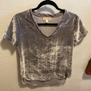 CLOTH & STONE SILVER CRUSHED VELVET TOP ⭐️
